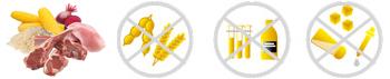 Kvalitní složení krmiva, bez obilnin, konzervantů, chemických dochucovadel, soli