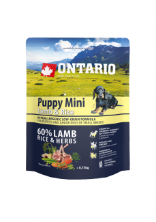 Ontario puppy mini lamb  rice 0,75 kg