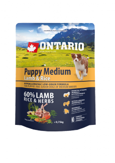 Ontario Puppy Medium Lamb  Rice 0,75 kg