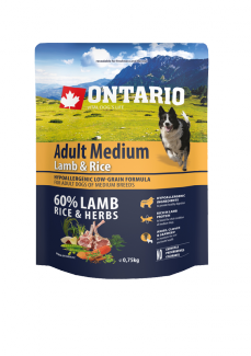 Ontario Adult Medium Lamb  Rice 0,75 kg
