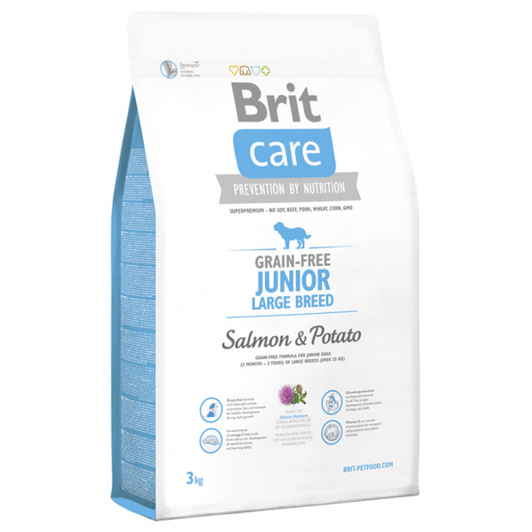 Brit care grain-free junior large breed salmon  potato 3kg