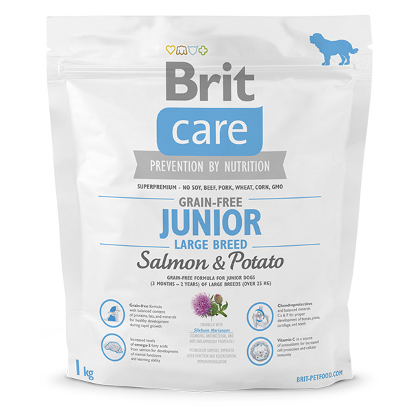 Brit care grain-free junior large breed salmon  potato 1kg