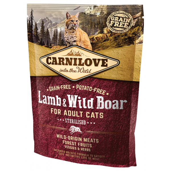 Carnilove lamb  and  wild boar adult cats – sterilised 400g