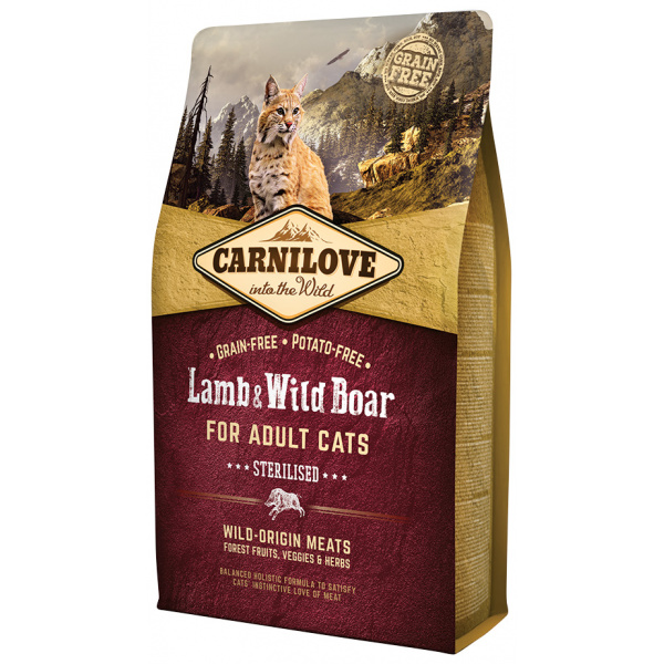 Carnilove Lamb and Wild Boar Adult Cats – Sterilised 2kg