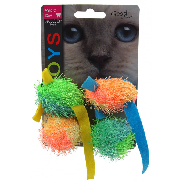 Hračka magic cat myš a koule s catnip 5cm 4ks