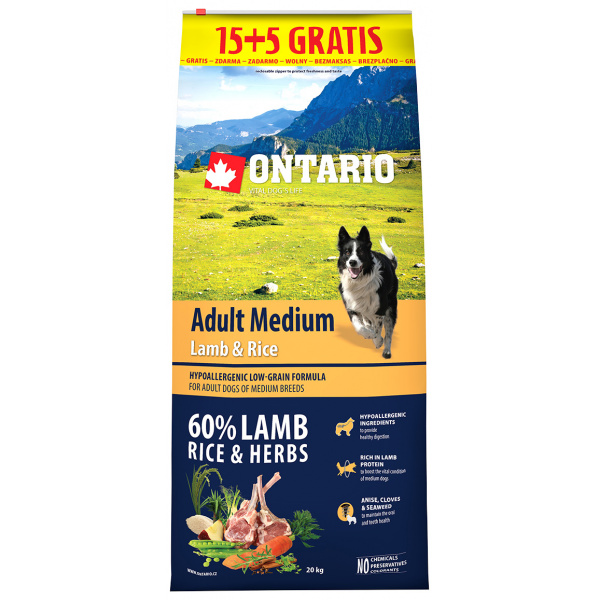 Ontario adult medium lamb  rice 155 kg zdarma