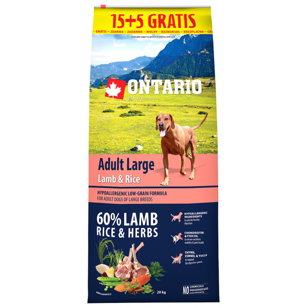 Ontario adult large lamb  rice 155 kg zdarma