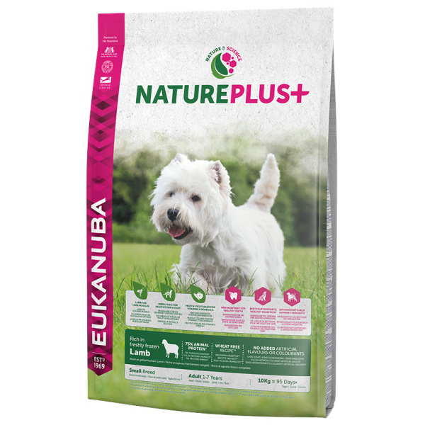 Eukanuba nature plus adult small breed rich in freshly frozen lamb 10kg