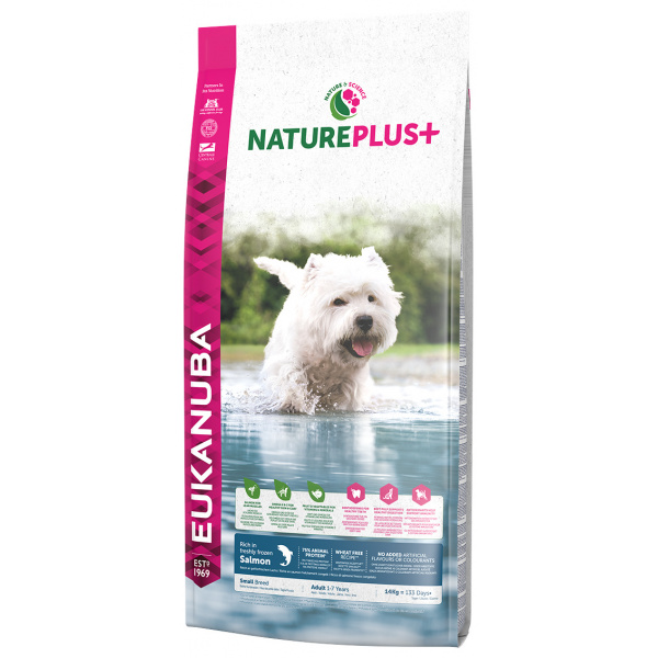 Eukanuba nature plus adult small breed rich in freshly frozen salmon 14kg