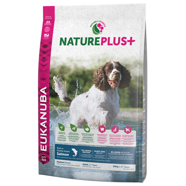 Eukanuba nature plus adult medium breed rich in freshly frozen salmon 10kg