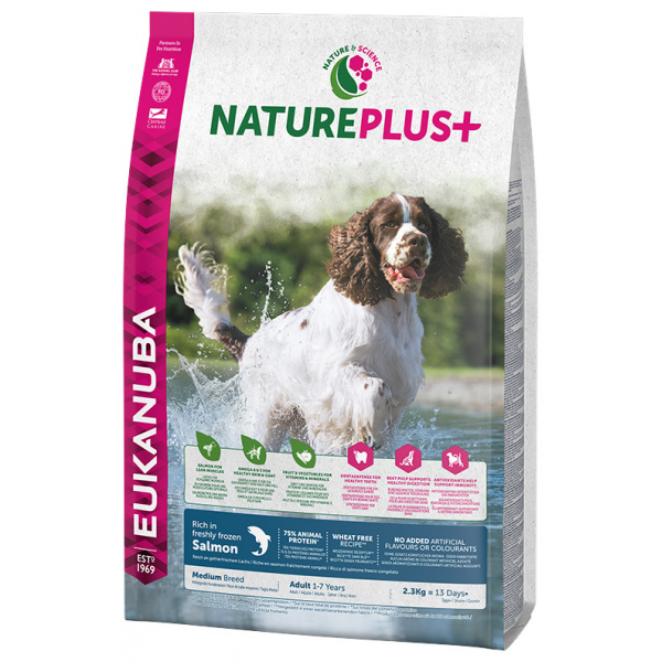 Eukanuba nature plus adult medium breed rich in freshly frozen salmon 2,3kg