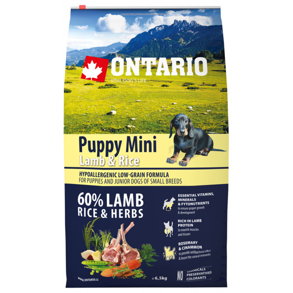 Ontario Puppy Mini Lamb  Rice 6,5 kg