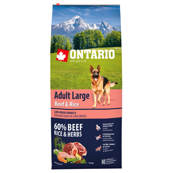 Ontario adult large beef  rice 12kg
