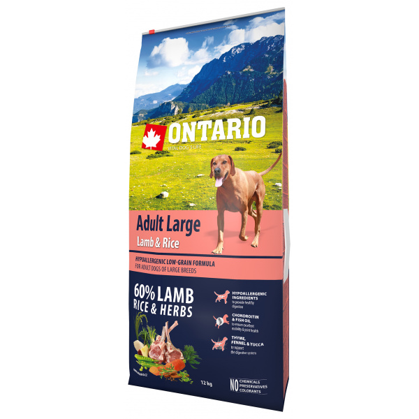 Ontario Adult Large Lamb  Rice 12kg