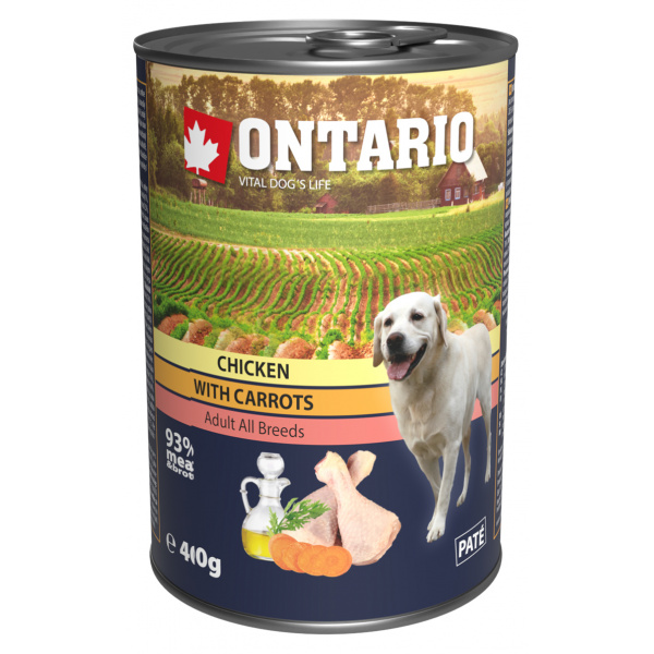 Konzerva ontario chicken, carrots, salmon oil 400g