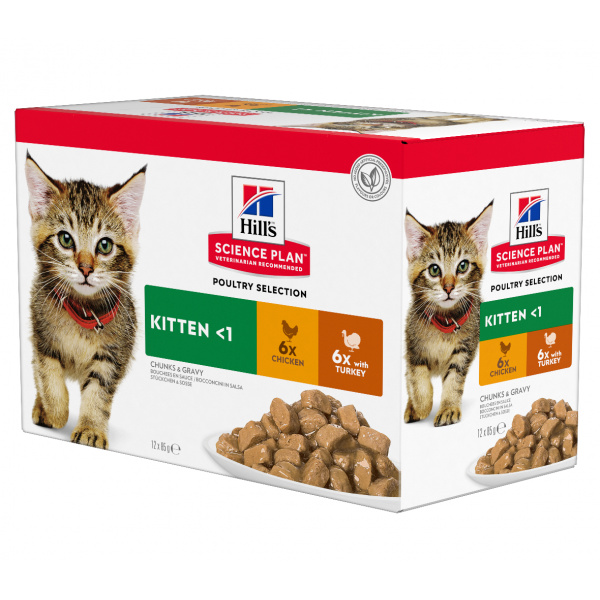 Kapsička Hill´s Science Plan Feline Kitten Multipack Chicken  Turkey 12x85g