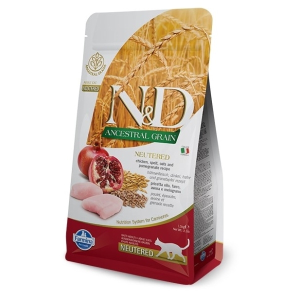 ND Ancestral Grain Cat Neutered Chicken  Pomegranate 1,5kg