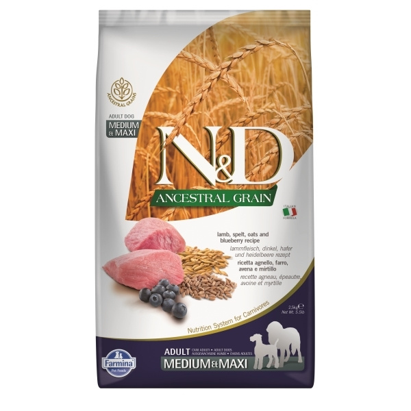 Nd ancestral grain dog adult ml lamb  blueberry 12kg