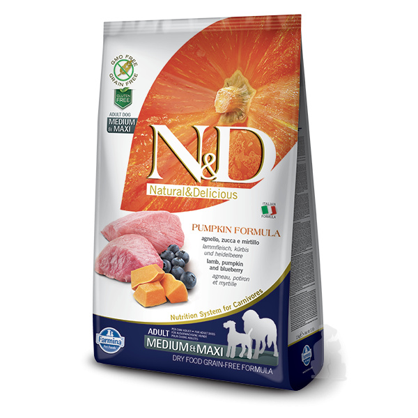 ND Pumpkin Dog Adult ML Lamb  Blueberry 12kg