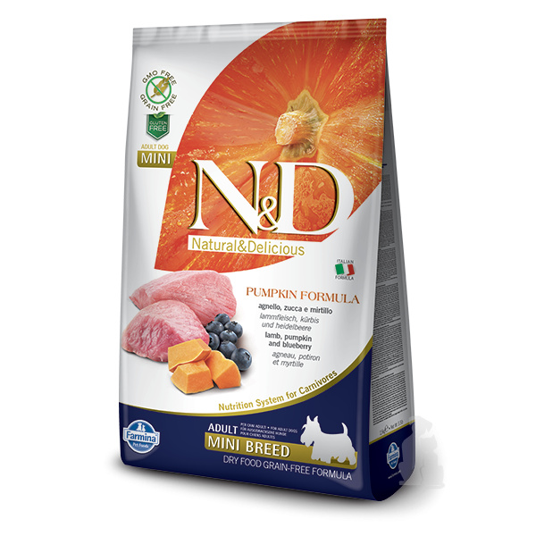 Nd pumpkin dog adult lamb  blueberry mini 2,5kg