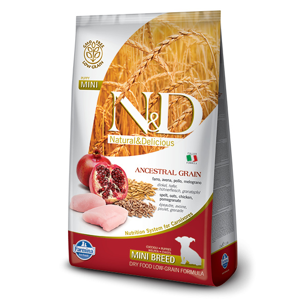 Nd ancestral grain dog puppy mini chicken  pomegrate 7kg