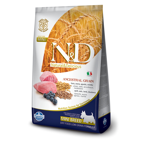 ND Ancestral Grain Dog Adult Lamb  Blueberry Mini 7kg