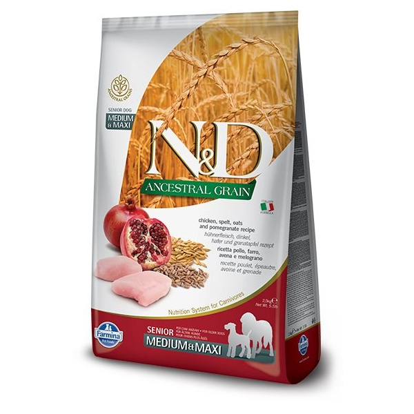 ND Ancestral Grain Dog Senior ML Chicken  Pomegrate 12kg