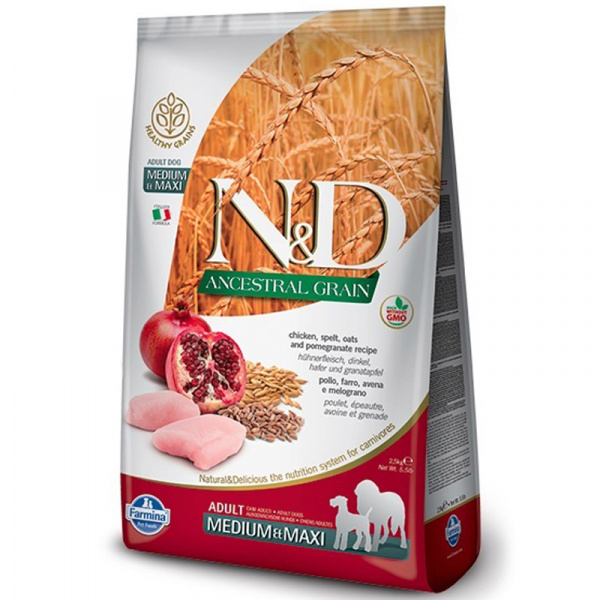 Nd ancestral grain dog adult ml chicken  pomegranate 12kg