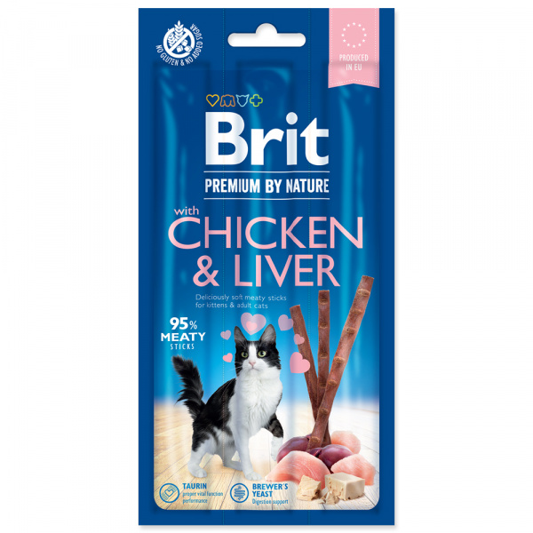 Tyčinky brit premium by nature cat sticks with chicken  liver 3ks