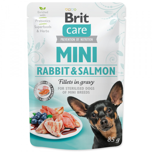 Kapsička brit care mini rabbit  salmon fillets in gravy 85g