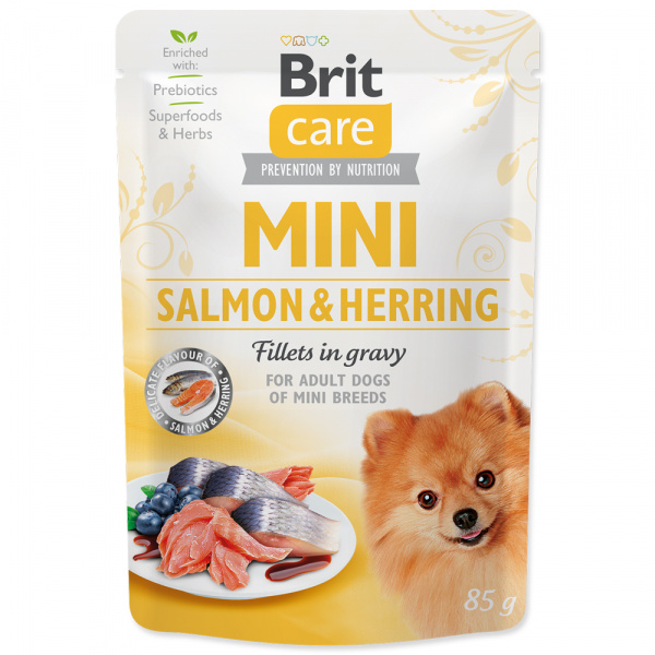 Kapsička brit care mini salmon  herring sterilised fillets in gravy 85g