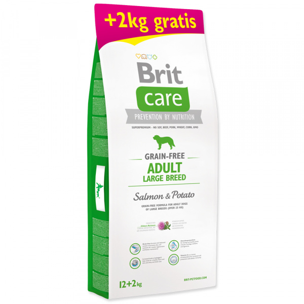 Brit care grain-free adult large breed salmon  potato 122kg zdarma