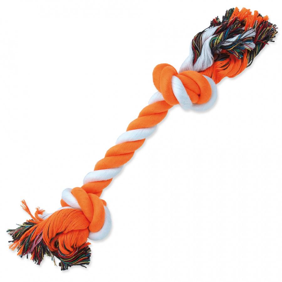 Uzel DOG FANTASY bavlněný oranžovo-bílý 2 knoty 30 cm