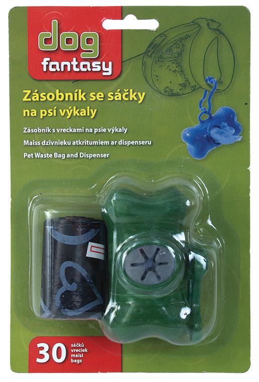Zásobník DOG FANTASY + sáčky zelený