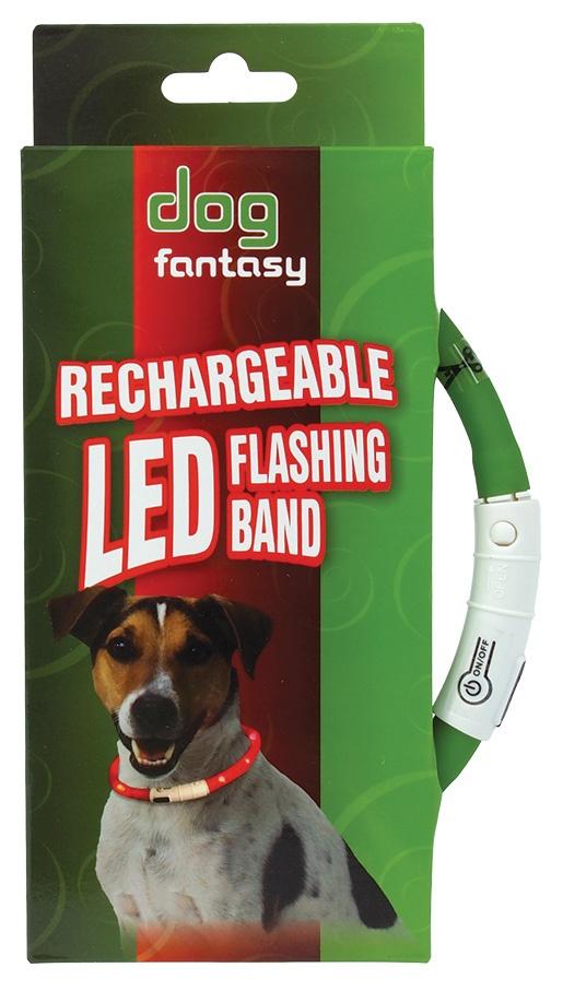 Obojek DOG FANTASY LED světelný zelený 45cm