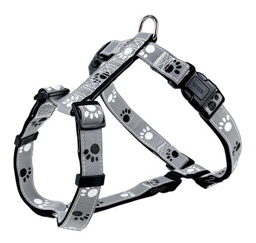 Postroj pro psy Trixie reflexní L-XL šedo-černá s potiskem tlapek 75-100cm*25mm