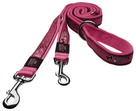 Vodítko ROGZ Fancy Dress Pink Bone přepínací XL