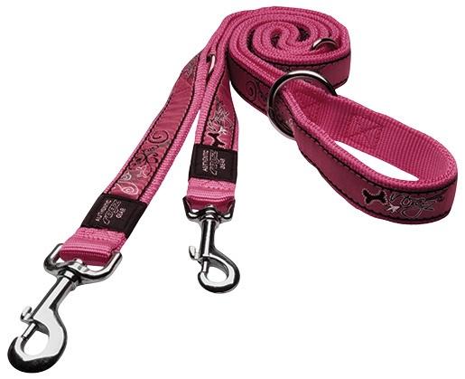 Vodítko ROGZ Fancy Dress Pink Bone přepínací L