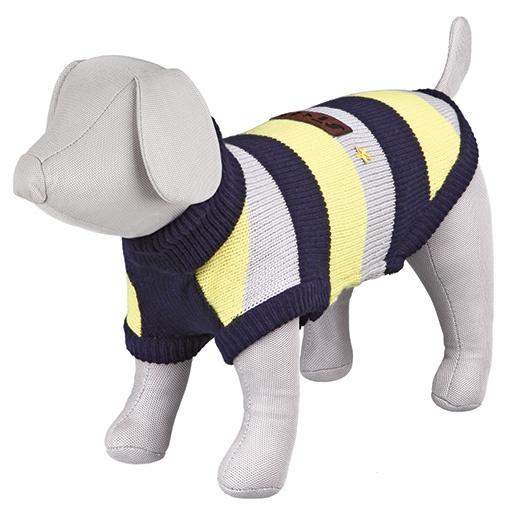 Svetr pro psy Trixie S Adamello modro-šedo-žlutá 33cm