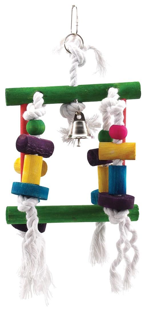 Hračka BIRD JEWEL Labyrint závěsná dřevo - provaz 23 cm