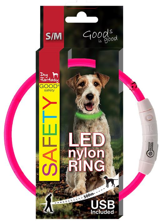 LED světelný obojek z nylonu růžový 45cm