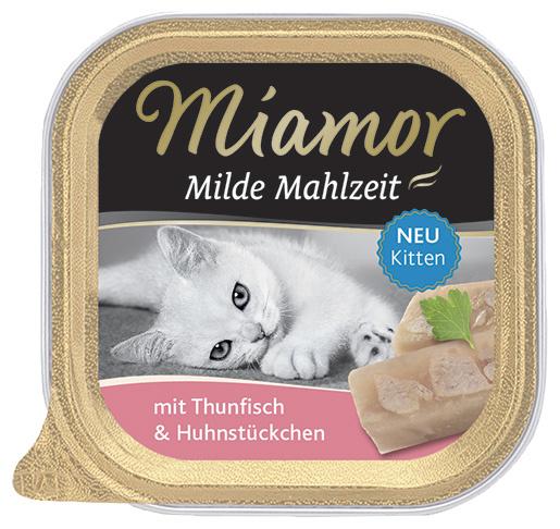 Vanička MIAMOR Milde Mahlzeit Kitten tuňák + kuřecí kousky 100g