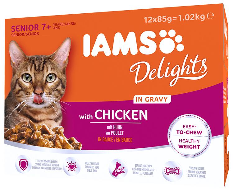 Kapsičky IAMS pro starší kočky s kuřecím masem v omáčce multipack 1020g (12x85gr)