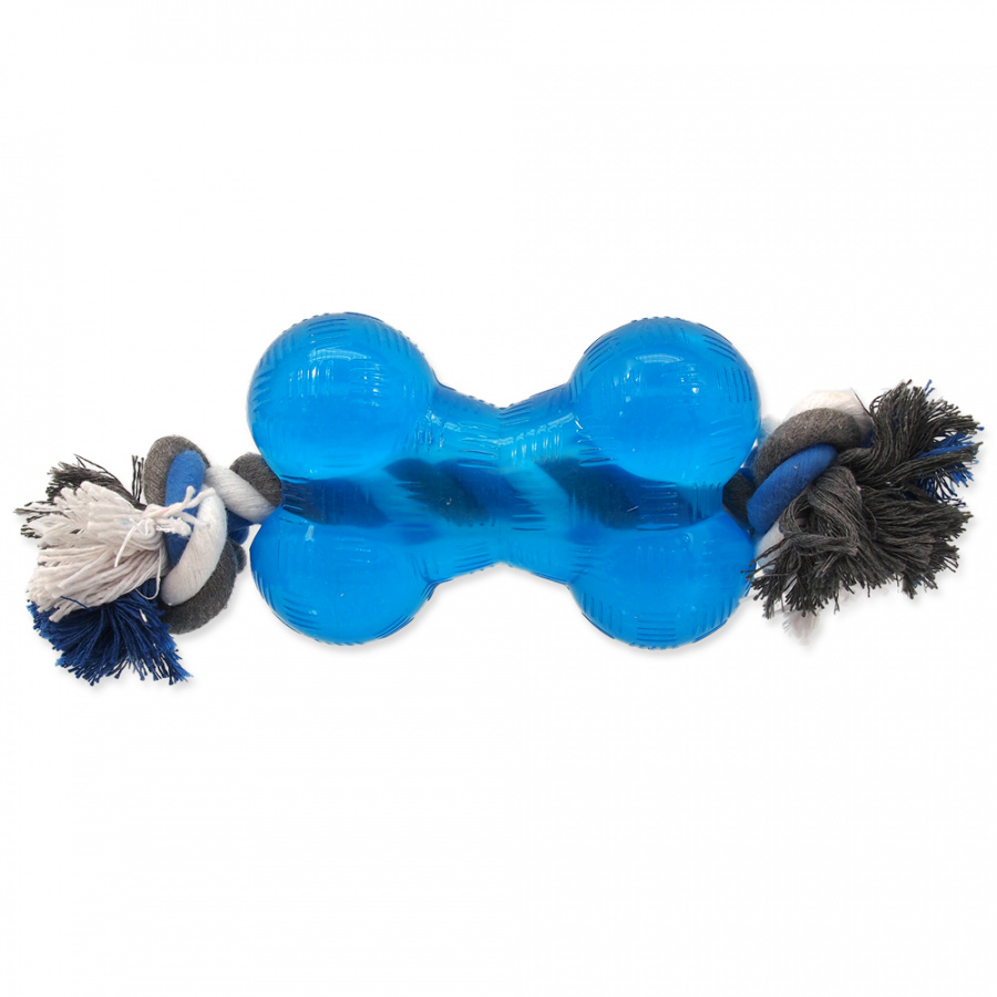 Hračka Dog Fantasy STRONG kost guma s provazem modrá 13,9 cm