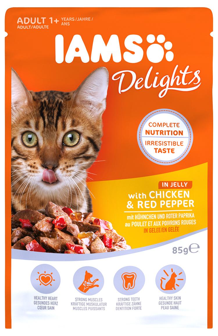 Kapsička IAMS pro kočky s kuřecím masem a červenými paprikami v želé 85g