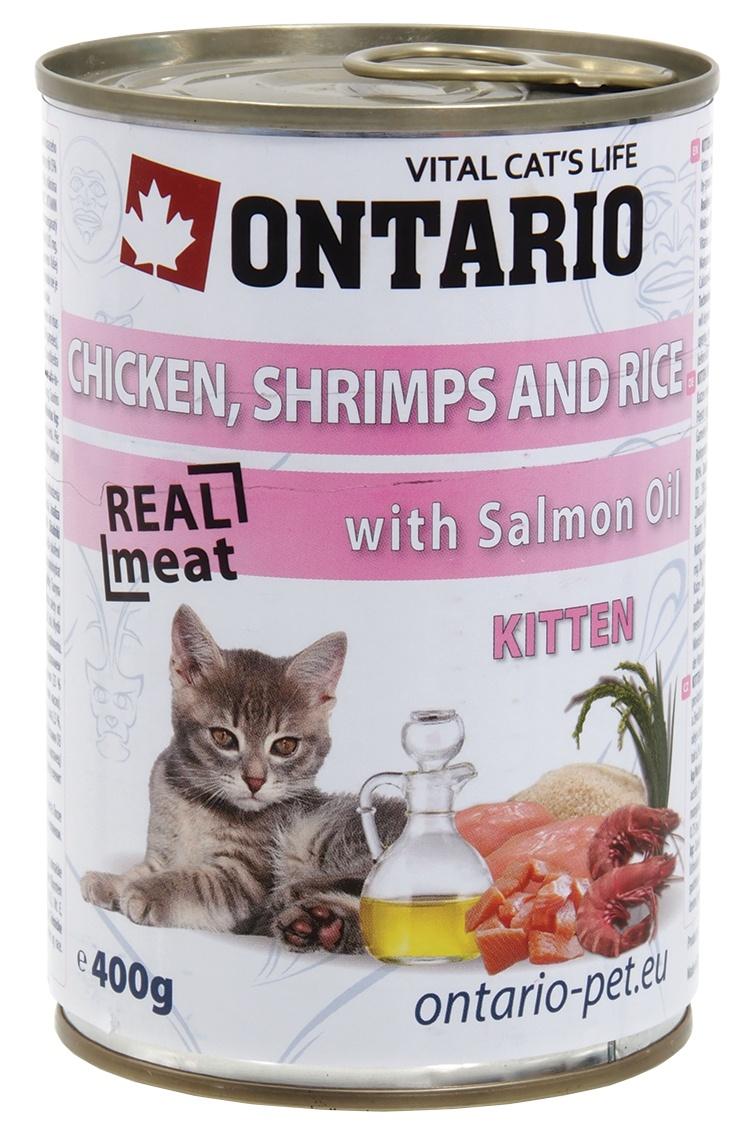 ONTARIO konzerva Kitten Chicken, Shrimp, Rice and Salmon Oil 400g