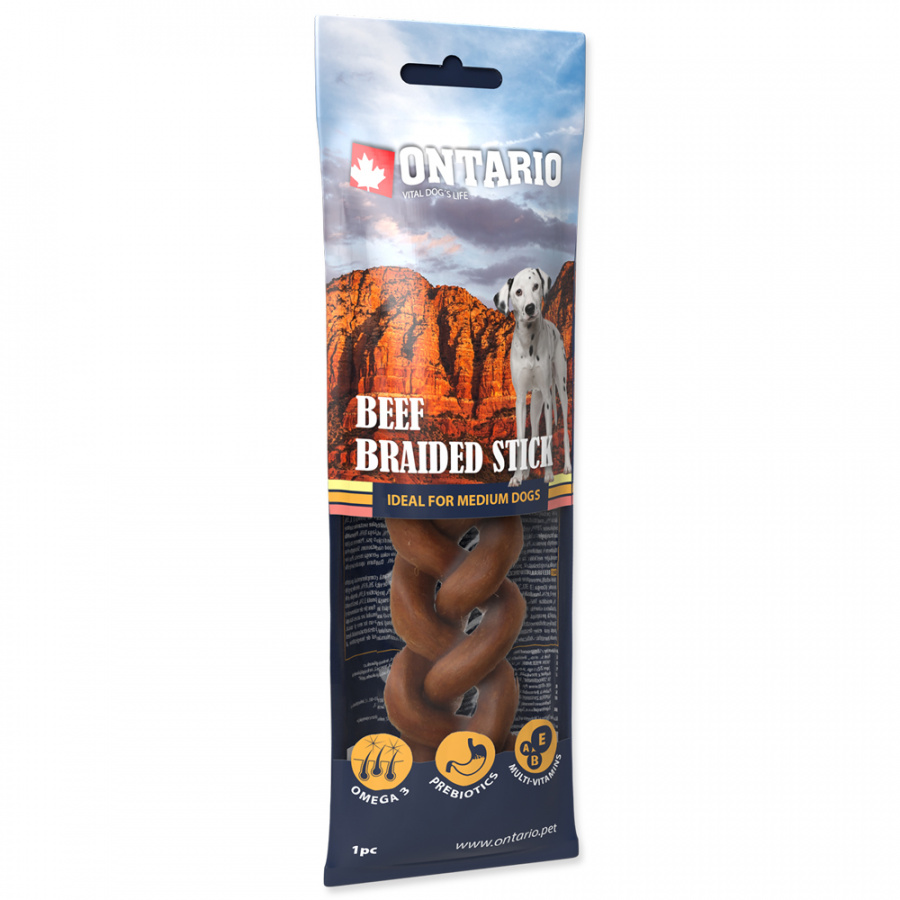 Ontario Rawhide Snack Braided Stick 15cm 1 ks