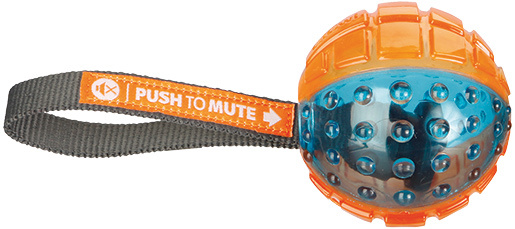 Hračka Push to mute přetahovadlo míč 7cmx22cm oranžovo-modré
