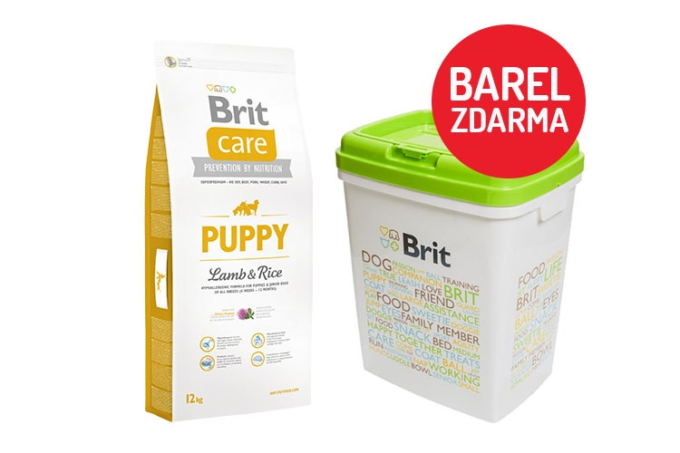 Brit Care Puppy Lamb  Rice 12kg  barel ZDARMA