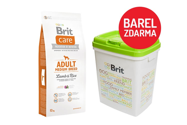 Brit Care Adult Medium Breed Lamb  Rice 12kg  barel ZDARMA